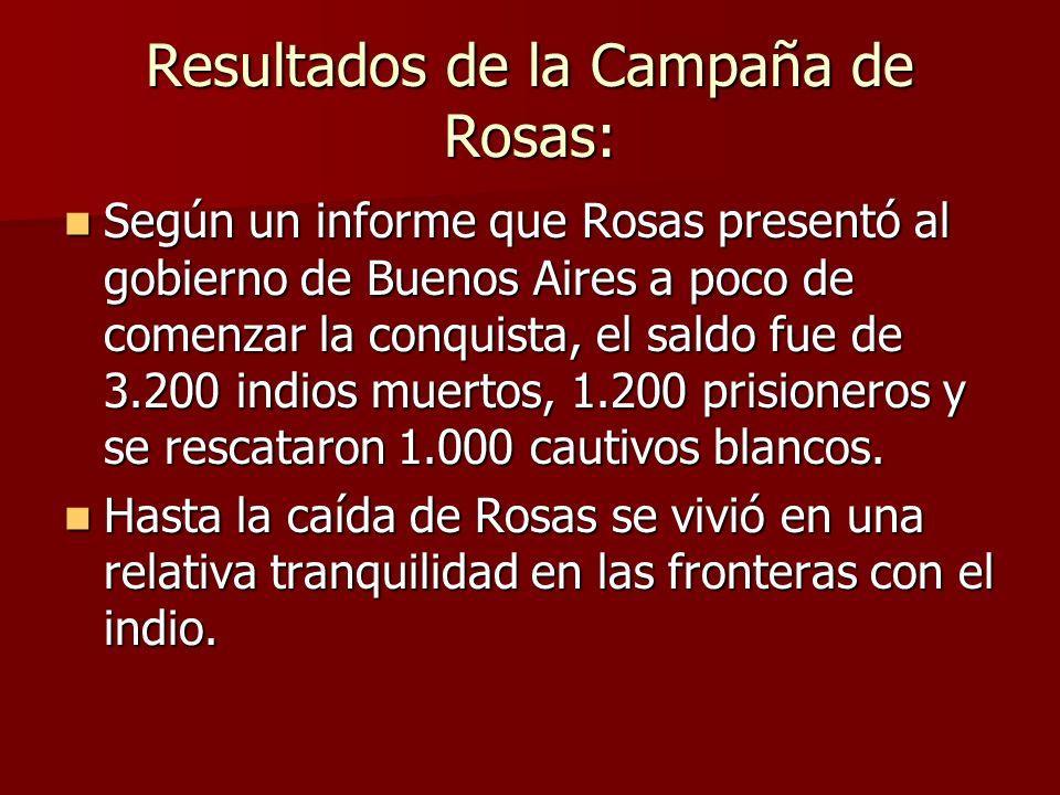 Resultados de la Campaña de Rosas: Según un informe que Rosas presentó al gobierno de Buenos Aires a poco de comenzar la conquista, el saldo fue de 3.