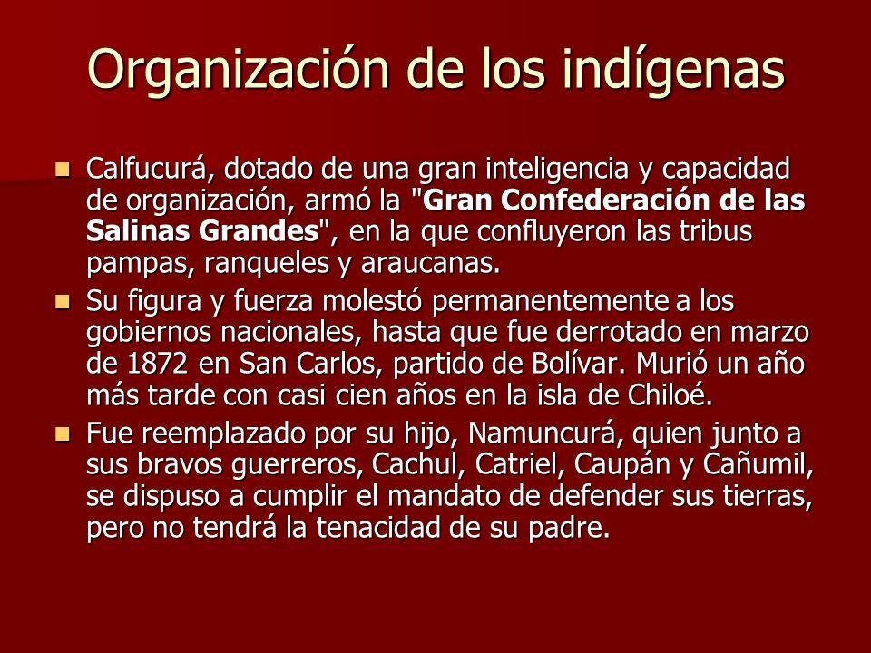 Organización de los indígenas Calfucurá, dotado de una gran inteligencia y capacidad de organización, armó la