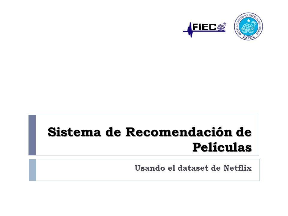 Agenda Introducción Análisis del dataset de Netflix Algoritmos de Filtrado Colaborativo Modelo MapReduce Análisis de Resultados Conclusiones Recomendaciones Sistema de Recomendación de Películas Informe de Materia de Graduación