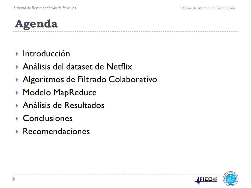 Agenda Introducción Análisis del dataset de Netflix Algoritmos de Filtrado Colaborativo Modelo MapReduce Análisis de Resultados Conclusiones Recomenda