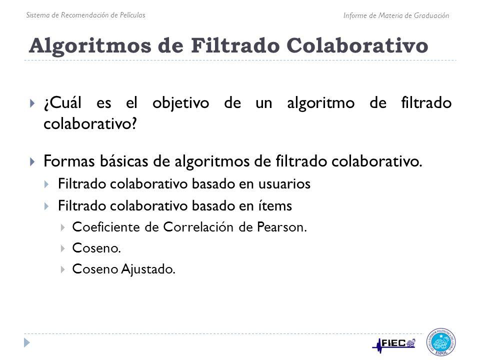 Algoritmos de Filtrado Colaborativo ¿Cuál es el objetivo de un algoritmo de filtrado colaborativo? Formas básicas de algoritmos de filtrado colaborati