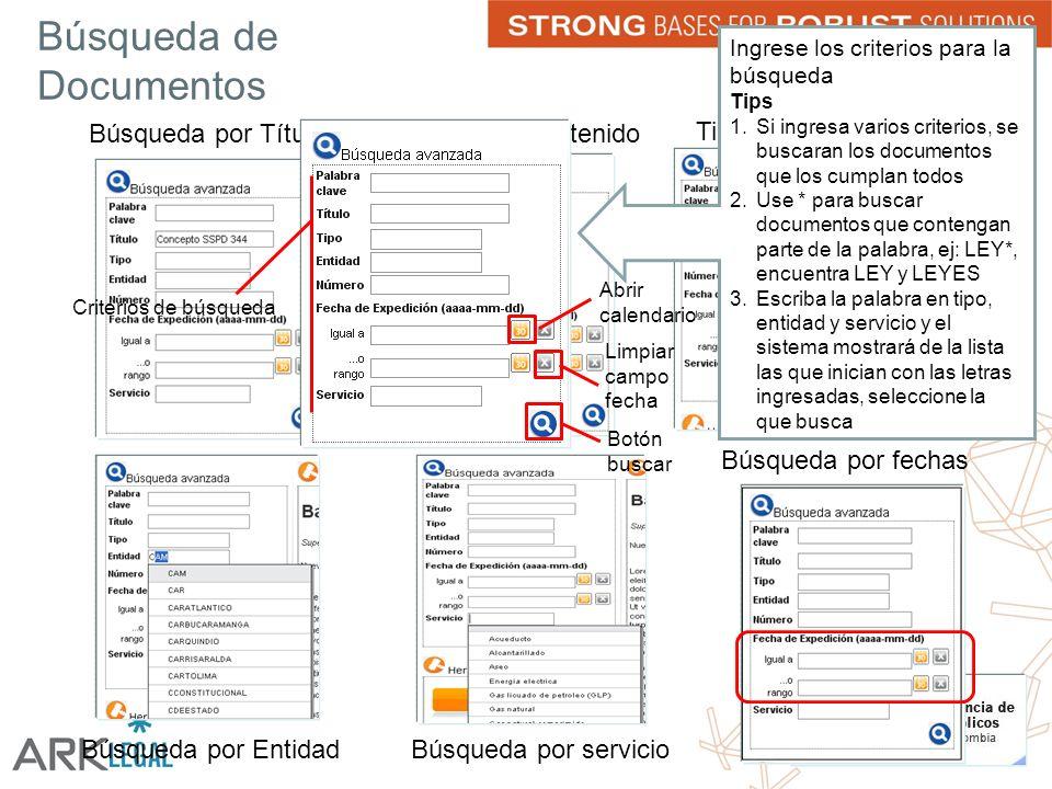 Búsqueda de Documentos Búsqueda por TítuloPalabra en el Contenido Tipo de Documento Búsqueda por EntidadBúsqueda por servicio Búsqueda por fechas Ingrese los criterios para la búsqueda Tips 1.Si ingresa varios criterios, se buscaran los documentos que los cumplan todos 2.Use * para buscar documentos que contengan parte de la palabra, ej: LEY*, encuentra LEY y LEYES 3.Escriba la palabra en tipo, entidad y servicio y el sistema mostrará de la lista las que inician con las letras ingresadas, seleccione la que busca Criterios de búsqueda Abrir calendario Limpiar campo fecha Botón buscar