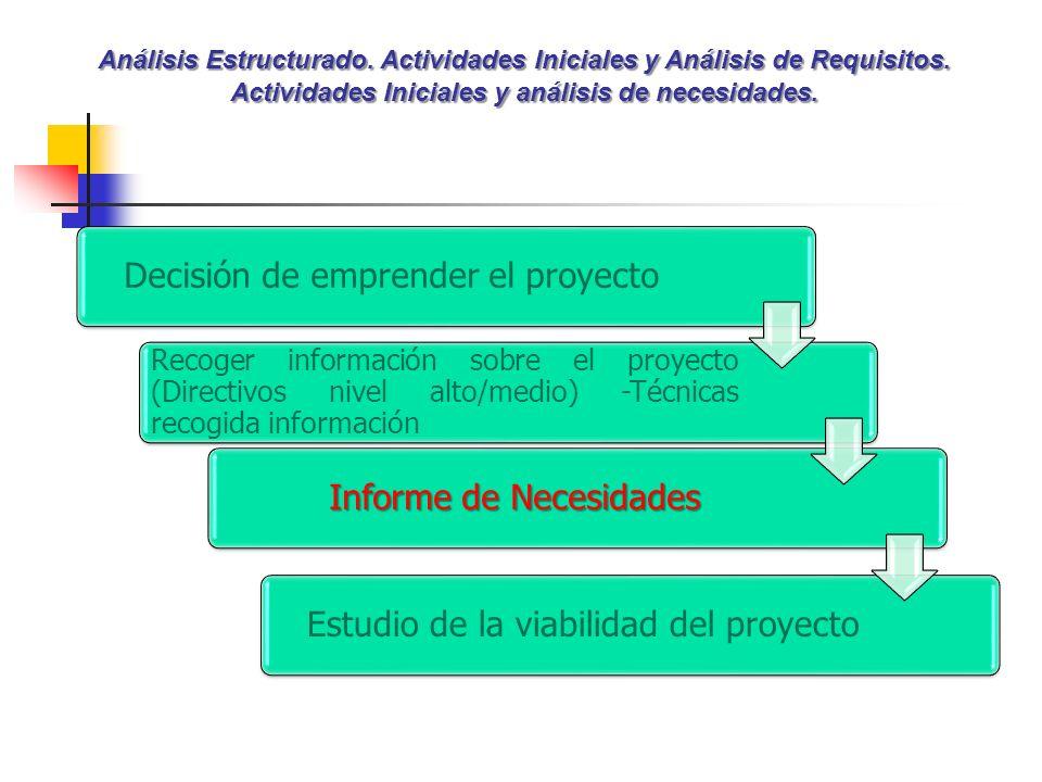 Análisis Estructurado. Actividades Iniciales y Análisis de Requisitos. Actividades Iniciales y análisis de necesidades. Decisión de emprender el proye
