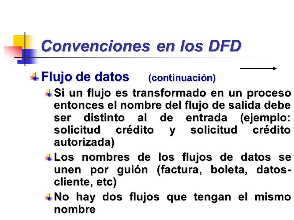 Convenciones en los DFD Flujo de datos (continuación) Si un flujo es transformado en un proceso entonces el nombre del flujo de salida debe ser distin