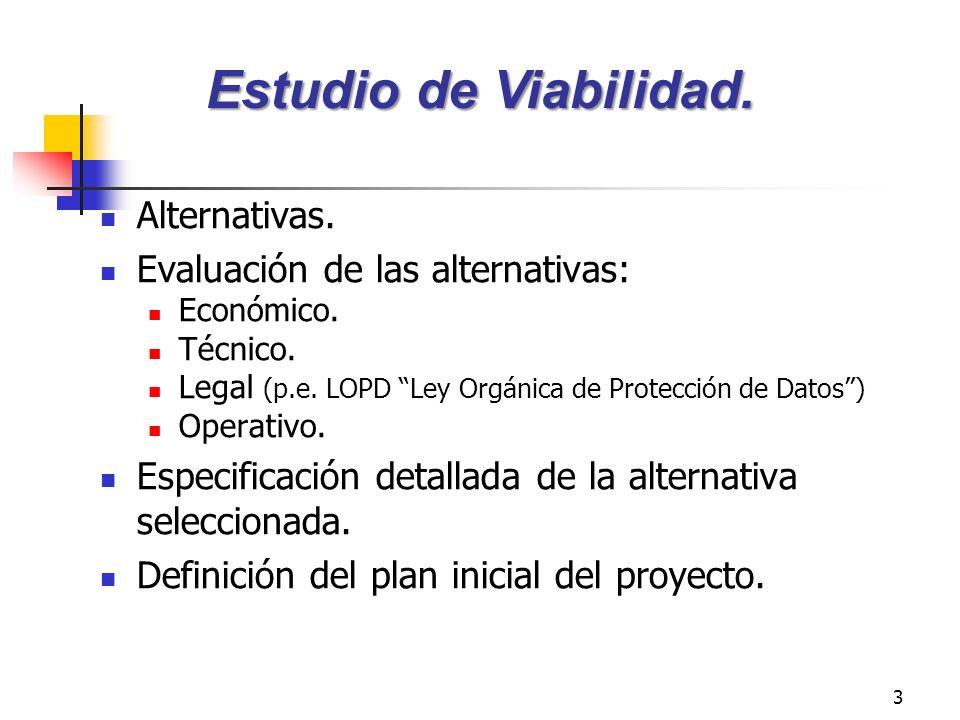 3 Alternativas. Evaluación de las alternativas: Económico. Técnico. Legal (p.e. LOPD Ley Orgánica de Protección de Datos) Operativo. Especificación de