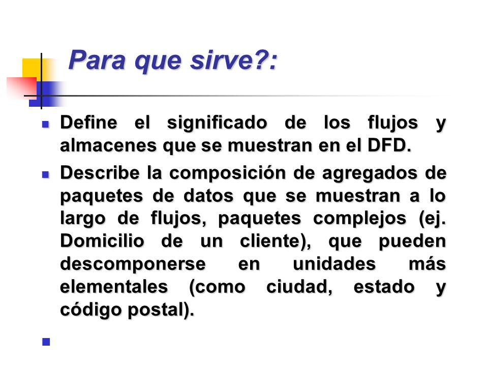 Para que sirve?: Define el significado de los flujos y almacenes que se muestran en el DFD. Define el significado de los flujos y almacenes que se mue