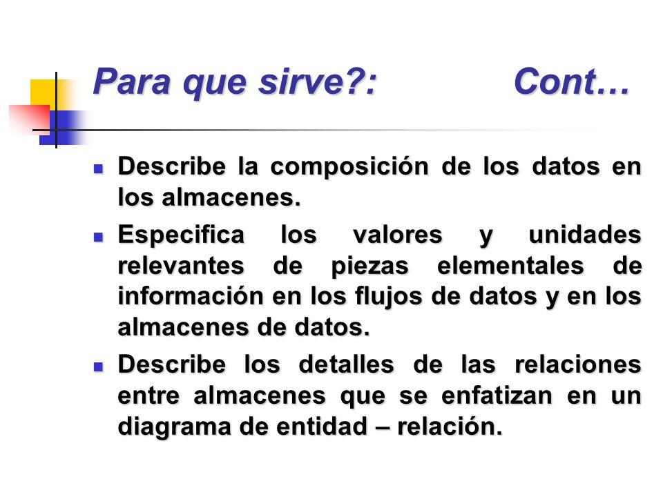 Describe la composición de los datos en los almacenes. Describe la composición de los datos en los almacenes. Especifica los valores y unidades releva