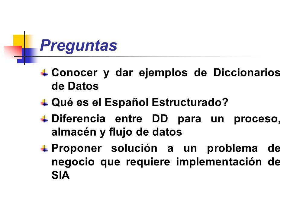 Preguntas Conocer y dar ejemplos de Diccionarios de Datos Qué es el Español Estructurado? Diferencia entre DD para un proceso, almacén y flujo de dato