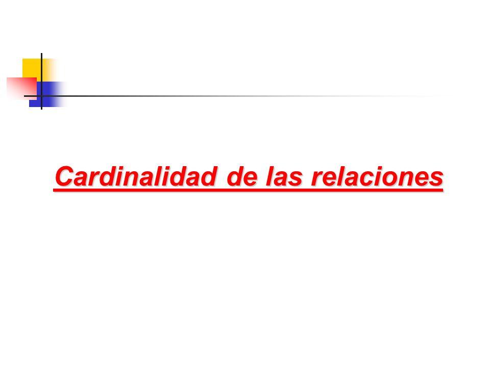 Cardinalidad de las relaciones Cardinalidad de las relaciones