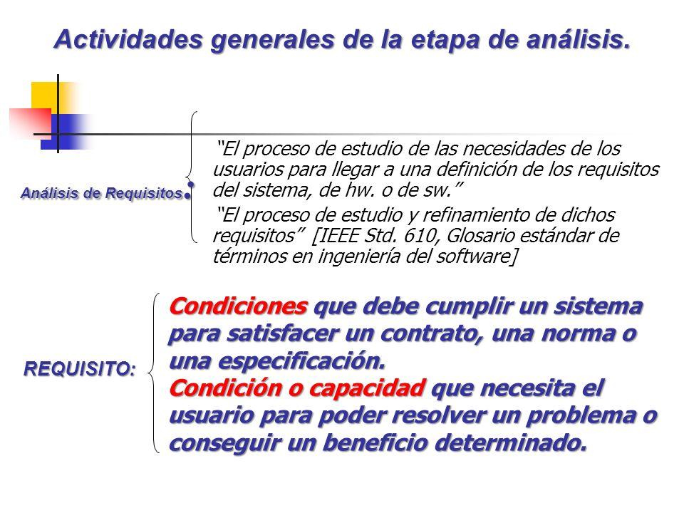 El proceso de estudio de las necesidades de los usuarios para llegar a una definición de los requisitos del sistema, de hw. o de sw. El proceso de est