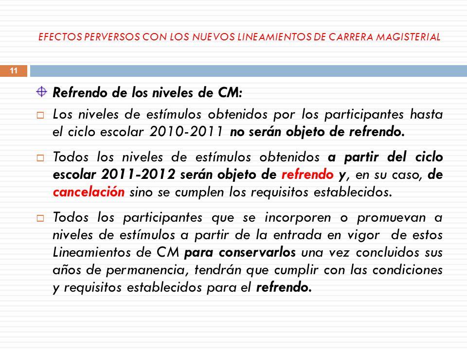 Refrendo de los niveles de CM: Los niveles de estímulos obtenidos por los participantes hasta el ciclo escolar 2010-2011 no serán objeto de refrendo.