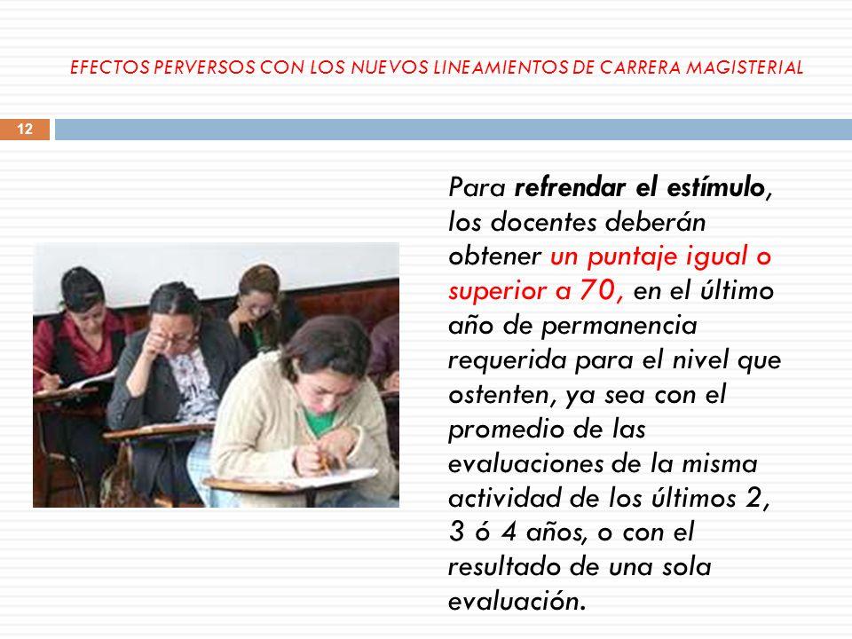 Para refrendar el estímulo, los docentes deberán obtener un puntaje igual o superior a 70, en el último año de permanencia requerida para el nivel que