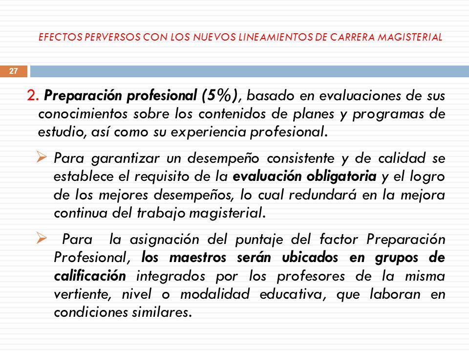 2. Preparación profesional (5%), basado en evaluaciones de sus conocimientos sobre los contenidos de planes y programas de estudio, así como su experi
