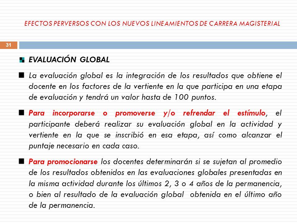 EVALUACIÓN GLOBAL La evaluación global es la integración de los resultados que obtiene el docente en los factores de la vertiente en la que participa