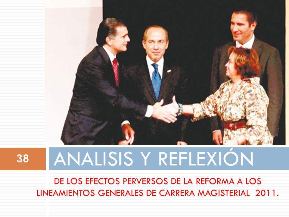 ANALISIS Y REFLEXIÓN Elba Esther Gordillo de manera astuta el 25 de mayo de 2011 en Cholula, Puebla firma el Acuerdo por el cual se reforma el Programa Nacional de CM.