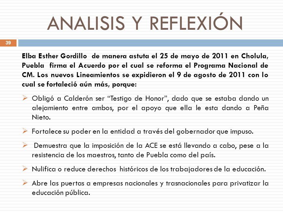 ANALISIS Y REFLEXIÓN Elba Esther Gordillo de manera astuta el 25 de mayo de 2011 en Cholula, Puebla firma el Acuerdo por el cual se reforma el Program
