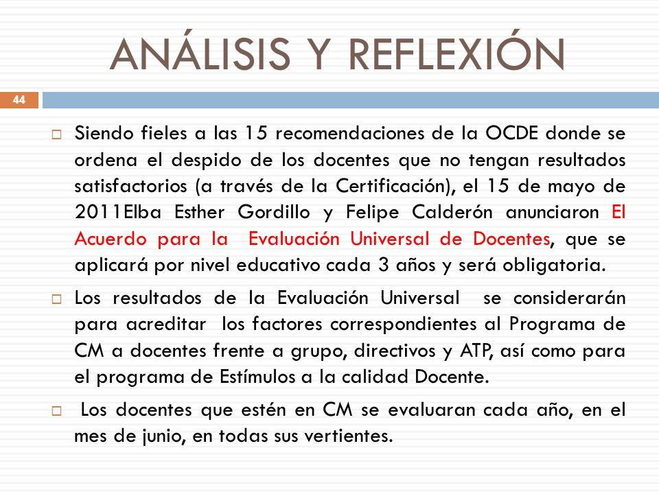 ANÁLISIS Y REFLEXIÓN Siendo fieles a las 15 recomendaciones de la OCDE donde se ordena el despido de los docentes que no tengan resultados satisfactor