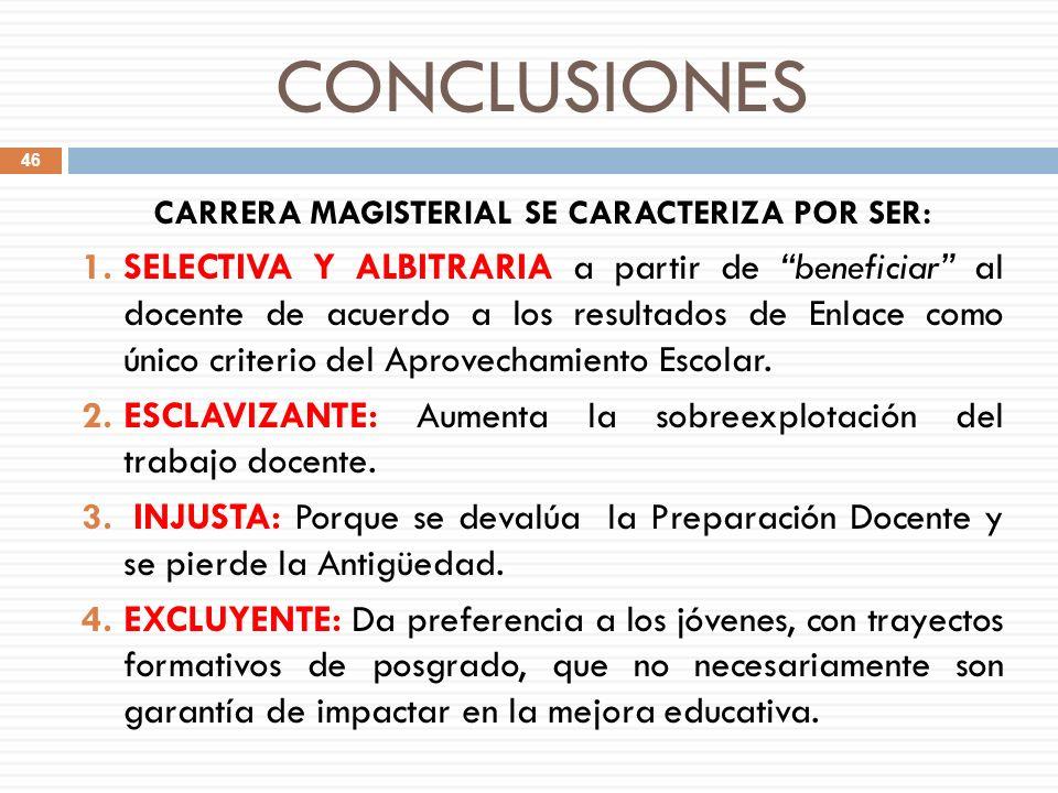 CONCLUSIONES CARRERA MAGISTERIAL SE CARACTERIZA POR SER: 1.SELECTIVA Y ALBITRARIA a partir de beneficiar al docente de acuerdo a los resultados de Enl