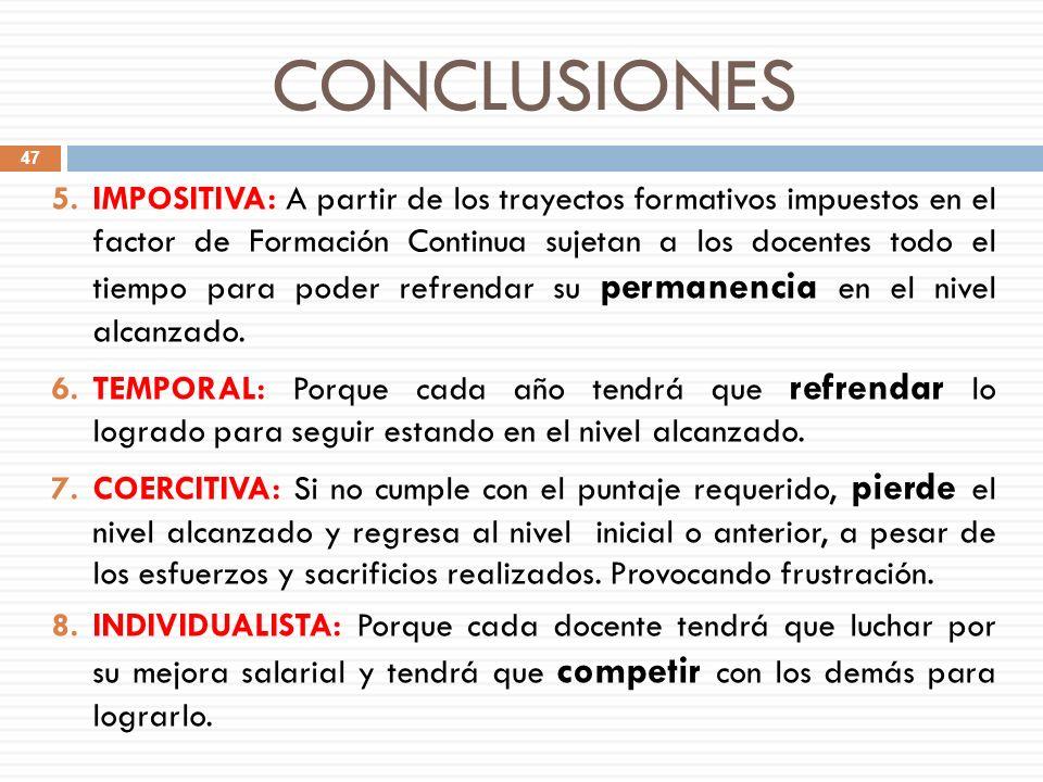 CONCLUSIONES 5.IMPOSITIVA: A partir de los trayectos formativos impuestos en el factor de Formación Continua sujetan a los docentes todo el tiempo par