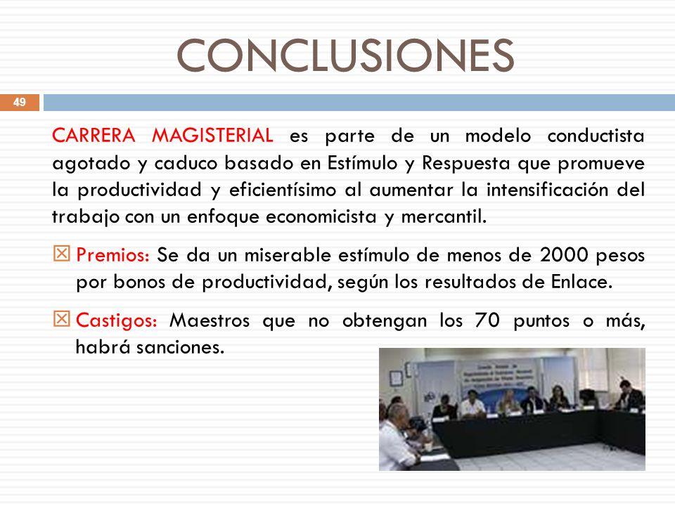 CONCLUSIONES CARRERA MAGISTERIAL es parte de un modelo conductista agotado y caduco basado en Estímulo y Respuesta que promueve la productividad y efi