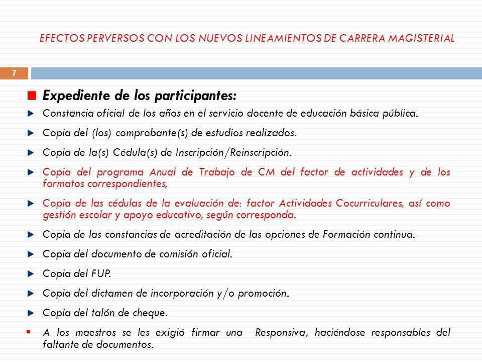 Expediente de los participantes: Constancia oficial de los años en el servicio docente de educación básica pública. Copia del (los) comprobante(s) de