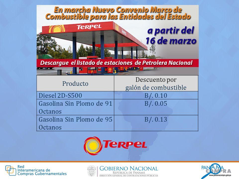Producto Descuento por galón de combustible Diesel 2D-S500B/. 0.10 Gasolina Sin Plomo de 91 Octanos B/. 0.05 Gasolina Sin Plomo de 95 Octanos B/. 0.13