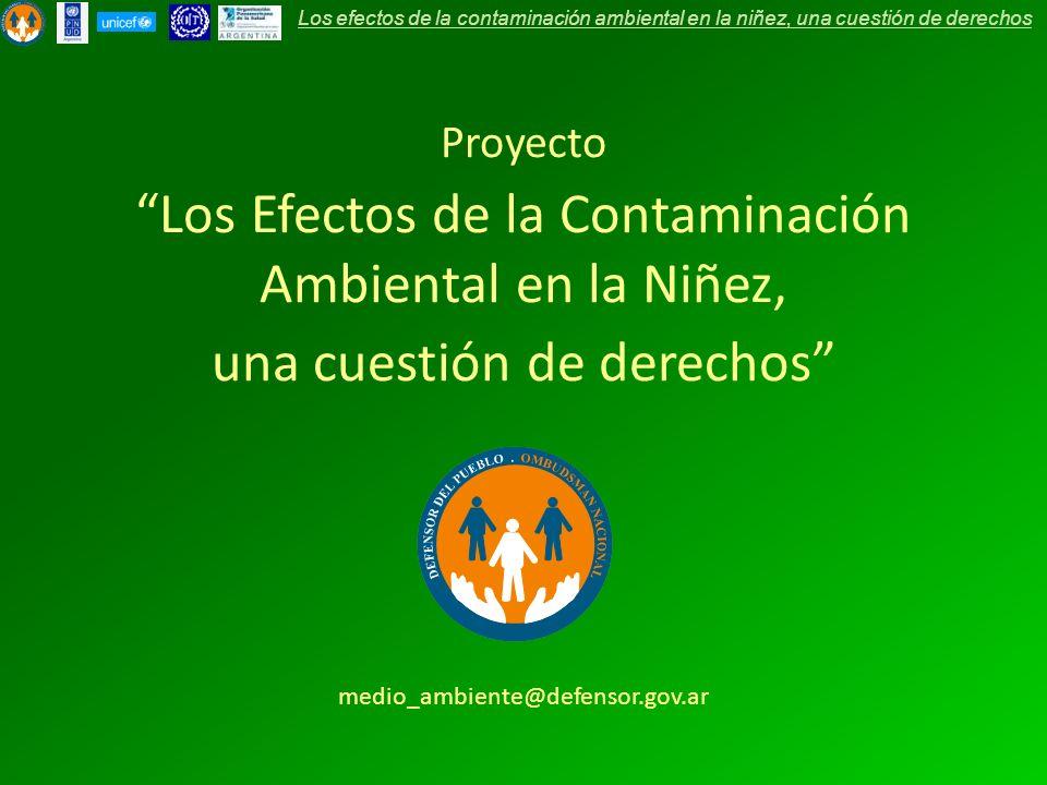Proyecto Los Efectos de la Contaminación Ambiental en la Niñez, una cuestión de derechos medio_ambiente@defensor.gov.ar Los efectos de la contaminació