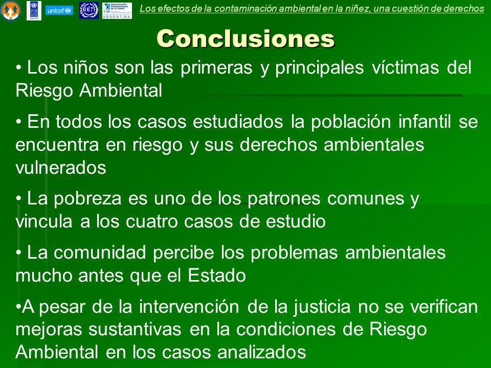 Conclusiones Los niños son las primeras y principales víctimas del Riesgo Ambiental En todos los casos estudiados la población infantil se encuentra e