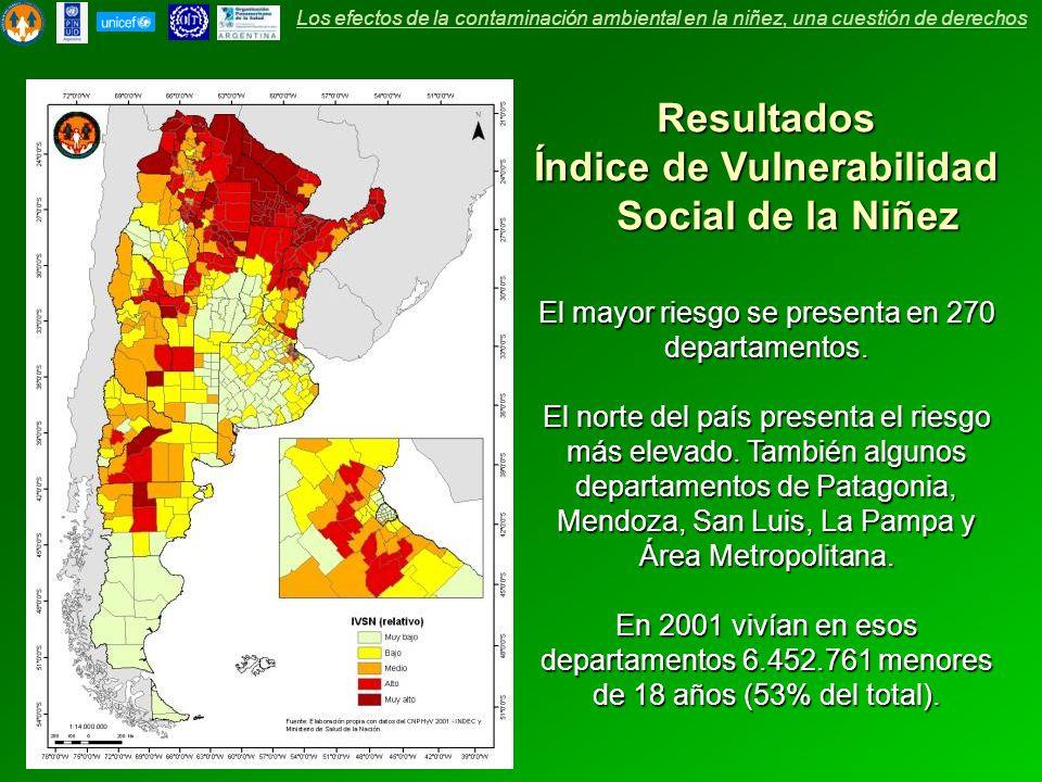 Resultados Índice de Vulnerabilidad Social de la Niñez El mayor riesgo se presenta en 270 departamentos. El norte del país presenta el riesgo más elev