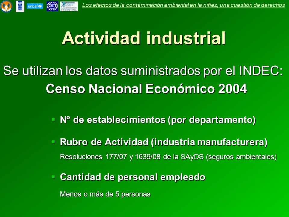 Actividad industrial Se utilizan los datos suministrados por el INDEC: Censo Nacional Económico 2004 Censo Nacional Económico 2004 Nº de establecimien