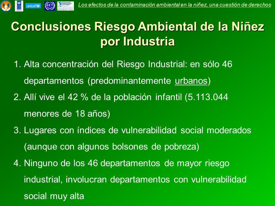 Conclusiones Riesgo Ambiental de la Niñez por Industria 1.Alta concentración del Riesgo Industrial: en sólo 46 departamentos (predominantemente urbano