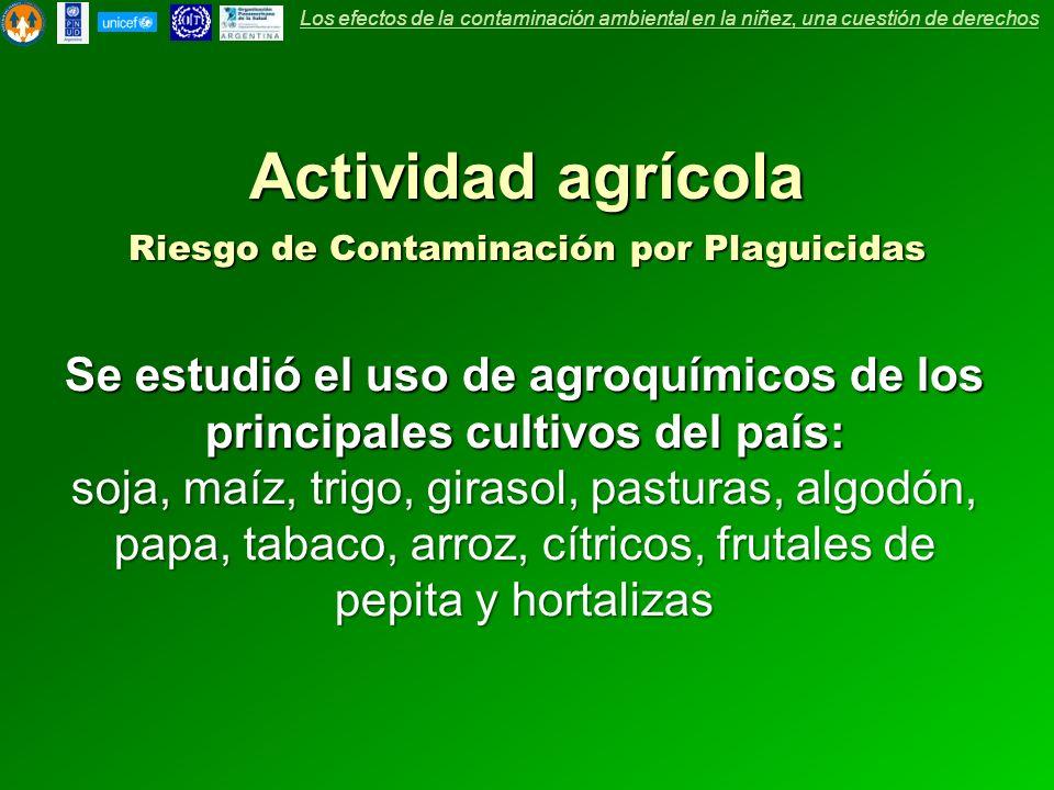 Se estudió el uso de agroquímicos de los principales cultivos del país: soja, maíz, trigo, girasol, pasturas, algodón, papa, tabaco, arroz, cítricos,