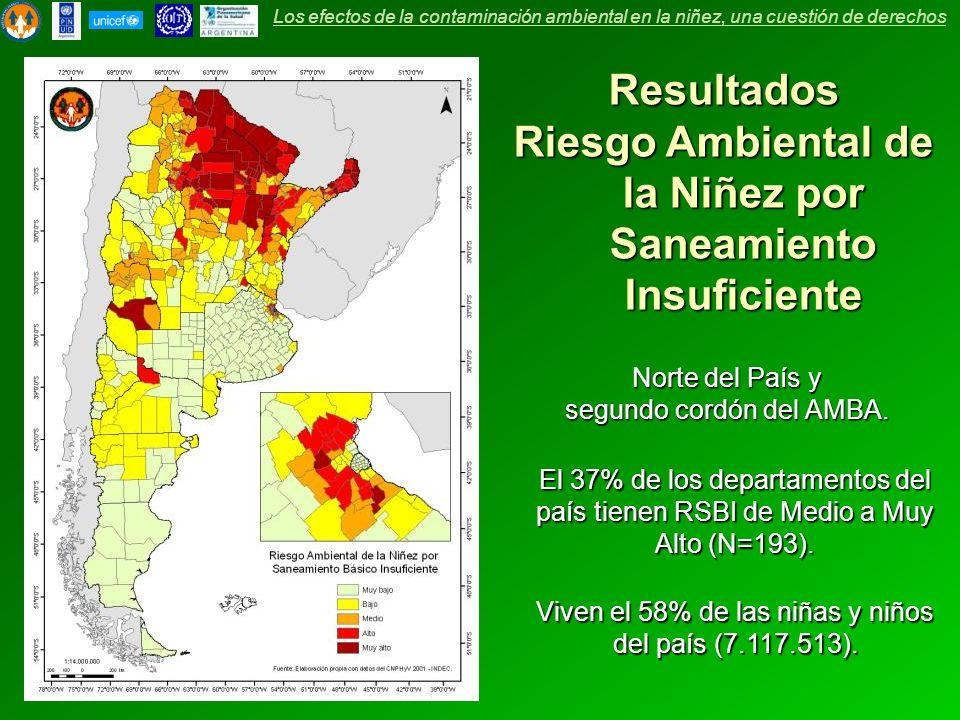 Resultados Riesgo Ambiental de la Niñez por Saneamiento Insuficiente El 37% de los departamentos del país tienen RSBI de Medio a Muy Alto (N=193). Viv