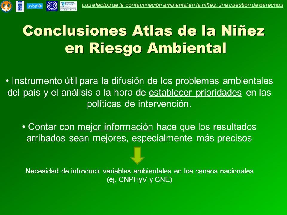Conclusiones Atlas de la Niñez en Riesgo Ambiental Instrumento útil para la difusión de los problemas ambientales del país y el análisis a la hora de establecer prioridades en las políticas de intervención.