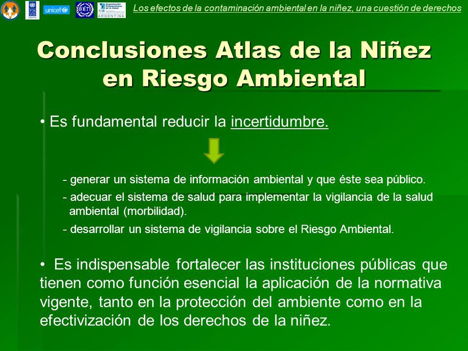 Conclusiones Atlas de la Niñez en Riesgo Ambiental Es fundamental reducir la incertidumbre. - generar un sistema de información ambiental y que éste s