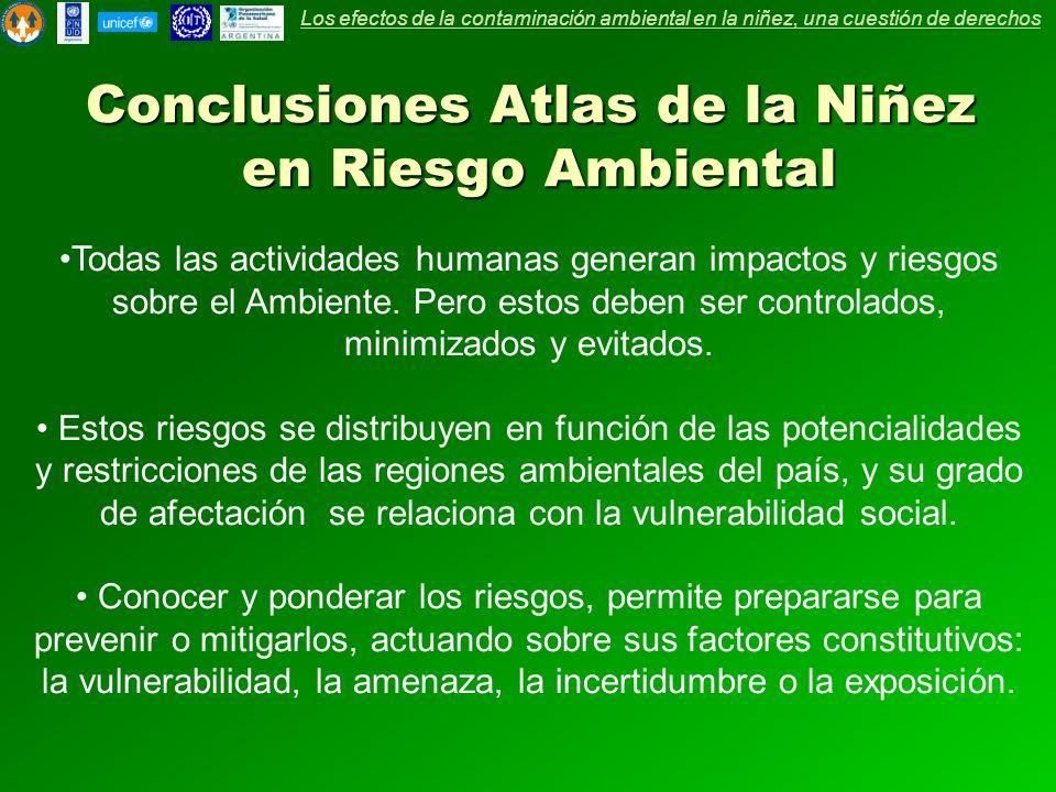 Conclusiones Atlas de la Niñez en Riesgo Ambiental Todas las actividades humanas generan impactos y riesgos sobre el Ambiente. Pero estos deben ser co