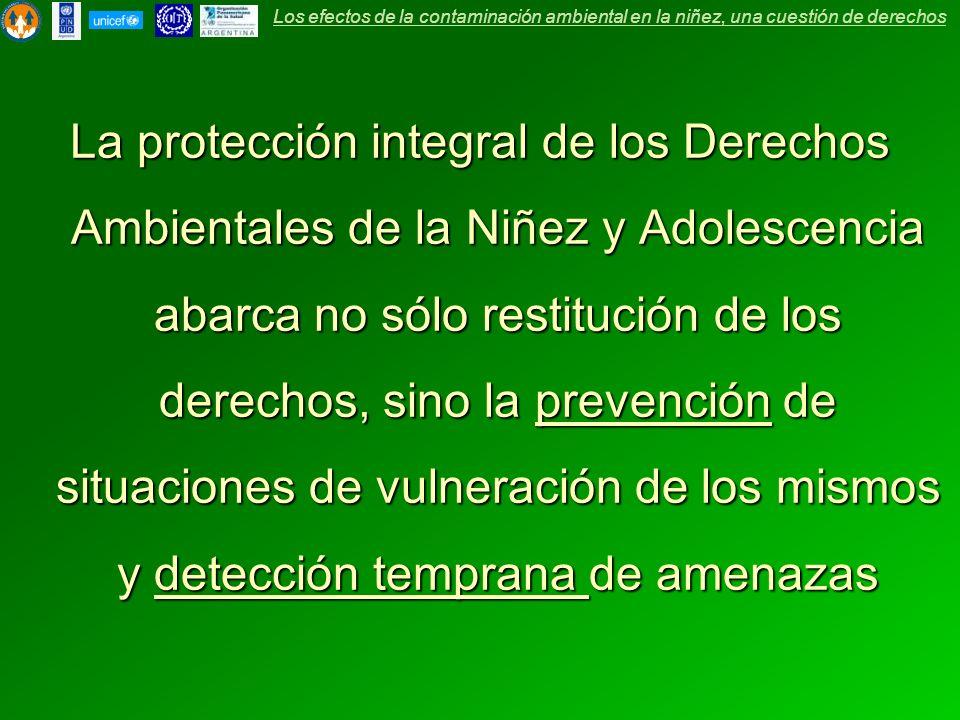 La protección integral de los Derechos Ambientales de la Niñez y Adolescencia abarca no sólo restitución de los derechos, sino la prevención de situaciones de vulneración de los mismos y detección temprana de amenazas Los efectos de la contaminación ambiental en la niñez, una cuestión de derechos
