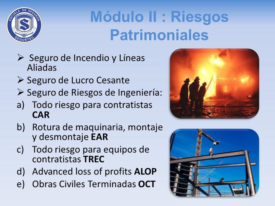 Módulo II : Riesgos Patrimoniales Seguro de Incendio y Líneas Aliadas Seguro de Lucro Cesante Seguro de Riesgos de Ingeniería: a)Todo riesgo para cont