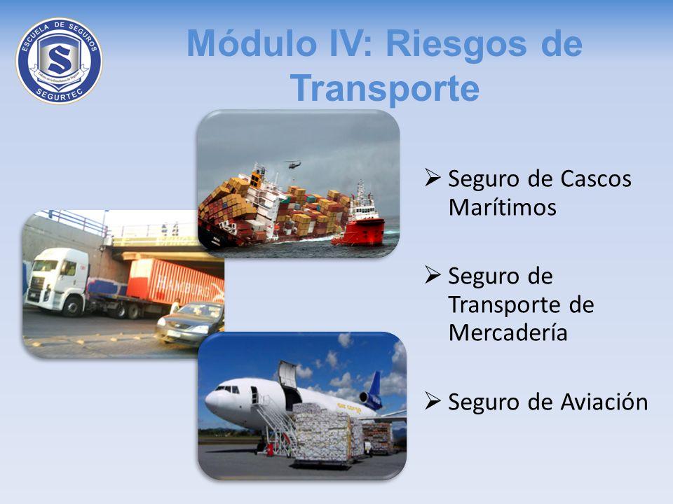 Módulo IV: Riesgos de Transporte Seguro de Cascos Marítimos Seguro de Transporte de Mercadería Seguro de Aviación