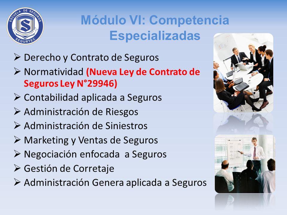 Módulo VI: Competencia Especializadas Derecho y Contrato de Seguros Normatividad (Nueva Ley de Contrato de Seguros Ley N°29946) Contabilidad aplicada