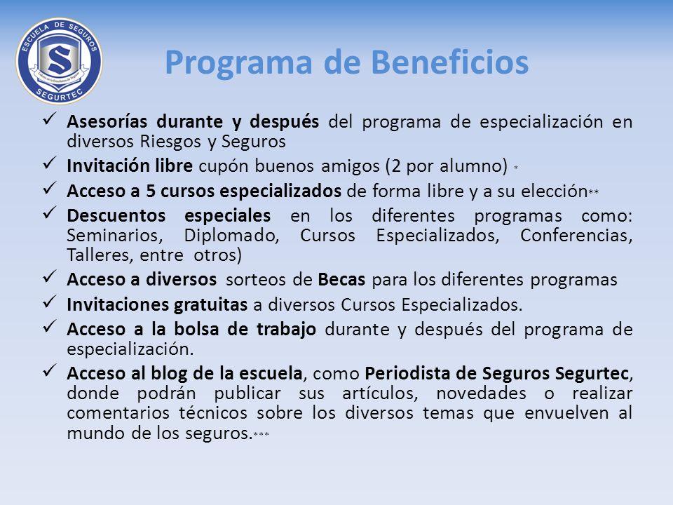 Asesorías durante y después del programa de especialización en diversos Riesgos y Seguros Invitación libre cupón buenos amigos (2 por alumno) * Acceso