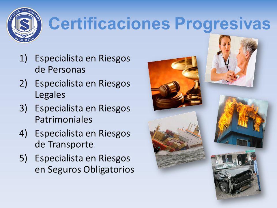 Certificaciones Progresivas 1)Especialista en Riesgos de Personas 2)Especialista en Riesgos Legales 3)Especialista en Riesgos Patrimoniales 4)Especial