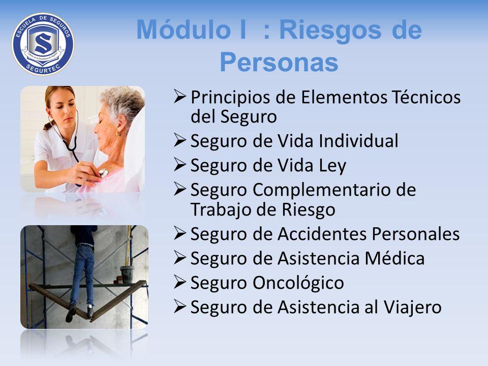 Módulo I : Riesgos de Personas Principios de Elementos Técnicos del Seguro Seguro de Vida Individual Seguro de Vida Ley Seguro Complementario de Traba