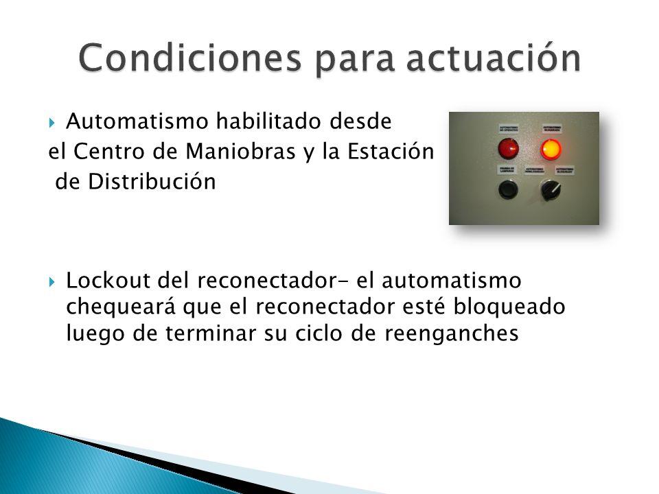 Automatismo habilitado desde el Centro de Maniobras y la Estación de Distribución Lockout del reconectador- el automatismo chequeará que el reconectador esté bloqueado luego de terminar su ciclo de reenganches