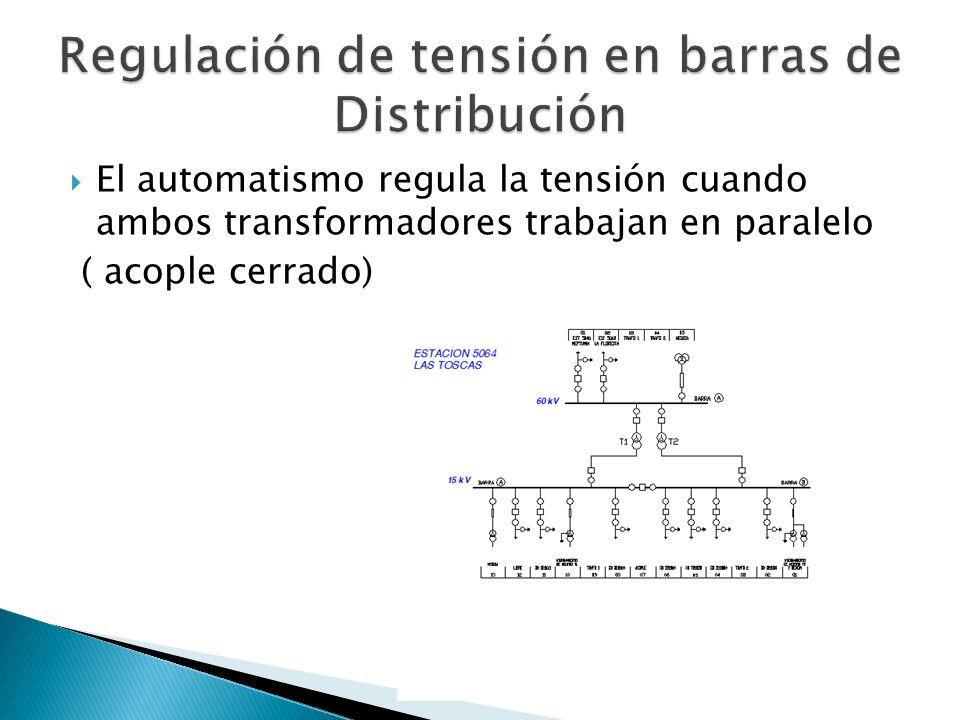 El automatismo regula la tensión cuando ambos transformadores trabajan en paralelo ( acople cerrado)