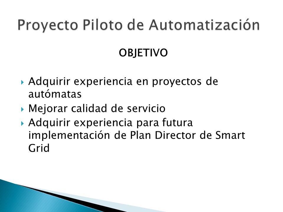 OBJETIVO Adquirir experiencia en proyectos de autómatas Mejorar calidad de servicio Adquirir experiencia para futura implementación de Plan Director de Smart Grid
