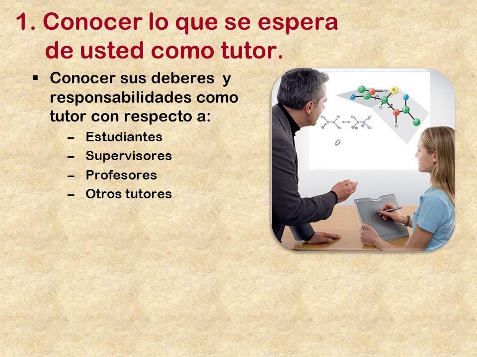 1.Conocer lo que se espera de usted como tutor.