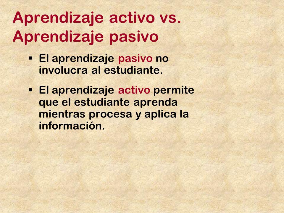 Aprendizaje activo vs.Aprendizaje pasivo El aprendizaje pasivo no involucra al estudiante.
