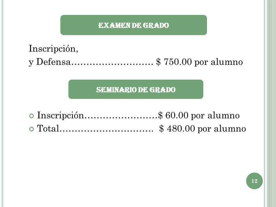 Inscripción, y Defensa……………………… $ 750.00 por alumno Inscripción……………………$ 60.00 por alumno Total…………………………. $ 480.00 por alumno Examen de Grado 12 Semi