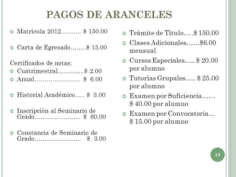PAGOS DE ARANCELES Matrícula 2012………. $ 150.00 Carta de Egresado……..$ 15.00 Certificados de notas: Cuatrimestral………….$ 2.00 Anual………………….. $ 6.00 Hist